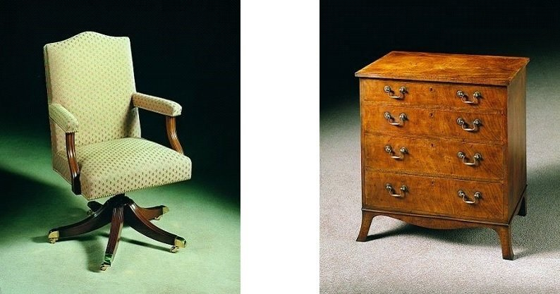 Desk Chair and Chest Using Brass castors and cabinet handles